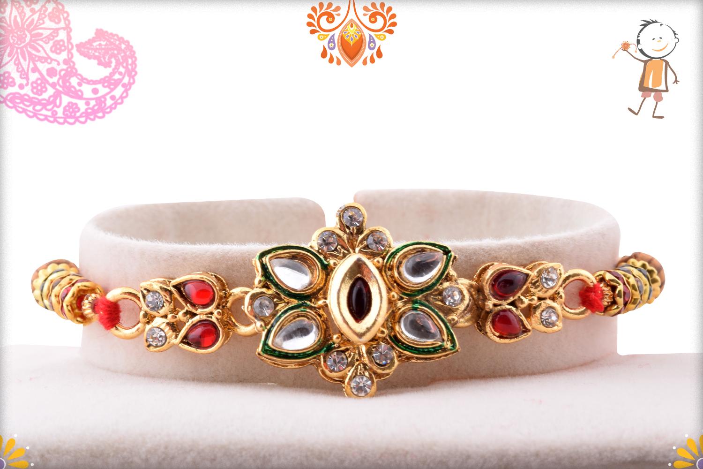 Classic Desiner Kundan Flower Rakhi 1
