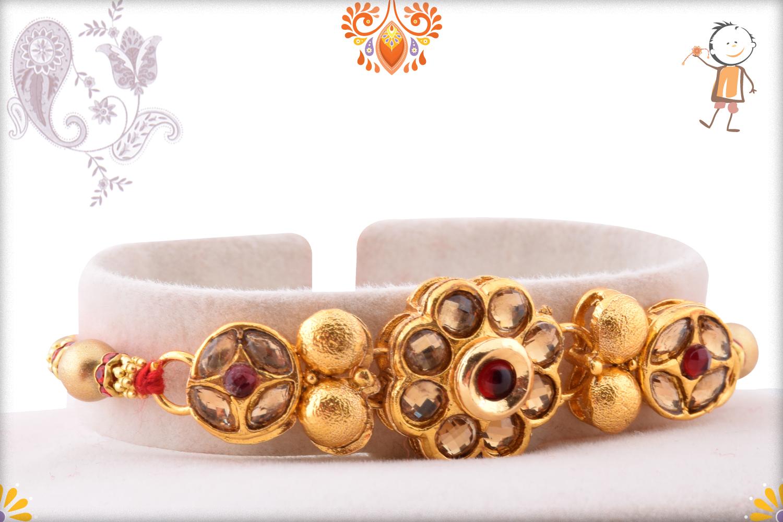 Royal Golden Flower With Golden Pearl Rakhi 2