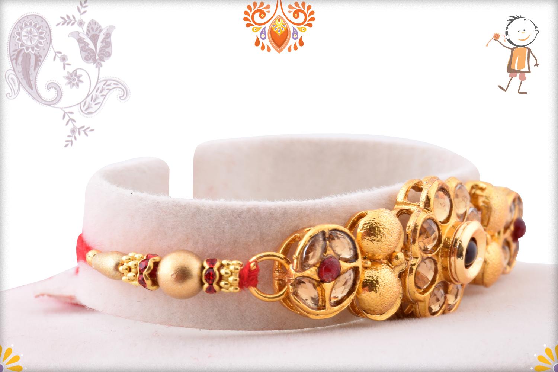 Royal Golden Flower With Golden Pearl Rakhi 3