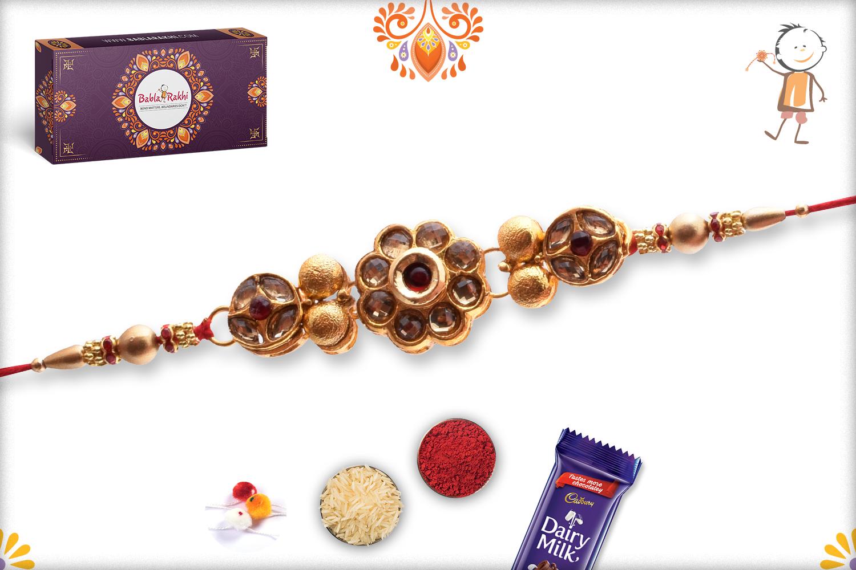 Royal Golden Flower With Golden Pearl Rakhi 4