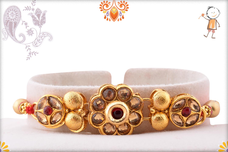Royal Golden Flower With Golden Pearl Rakhi 1