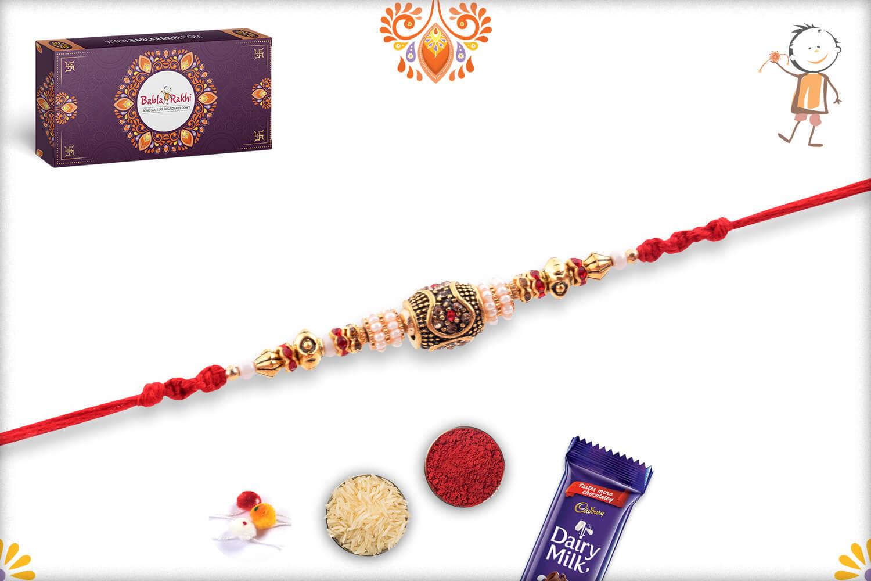 Antique Metalic and White Pearl Beads Rakhi 1