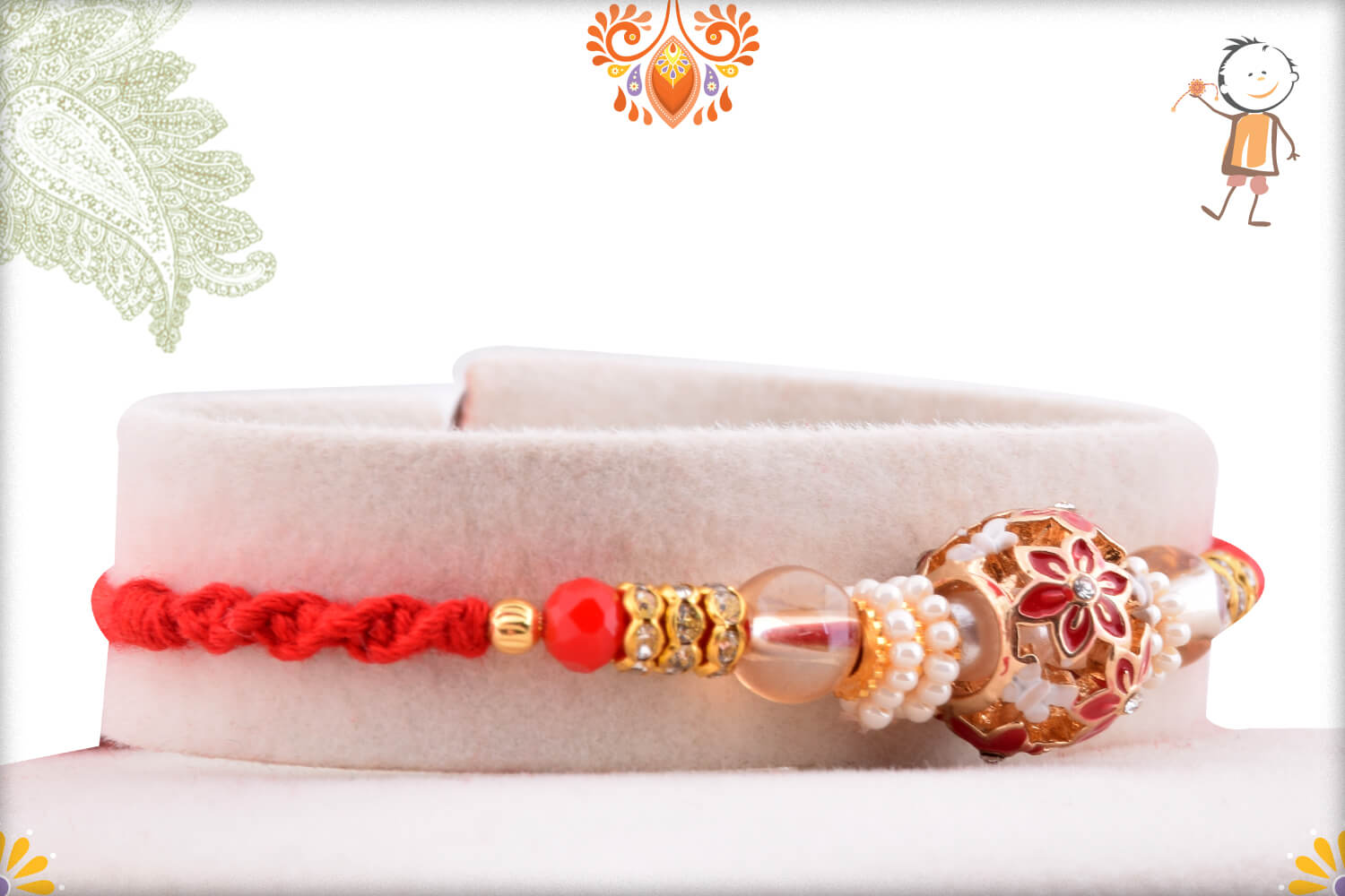 Antique Metalic Design With White Pearl Rakhi And Red Thread 2