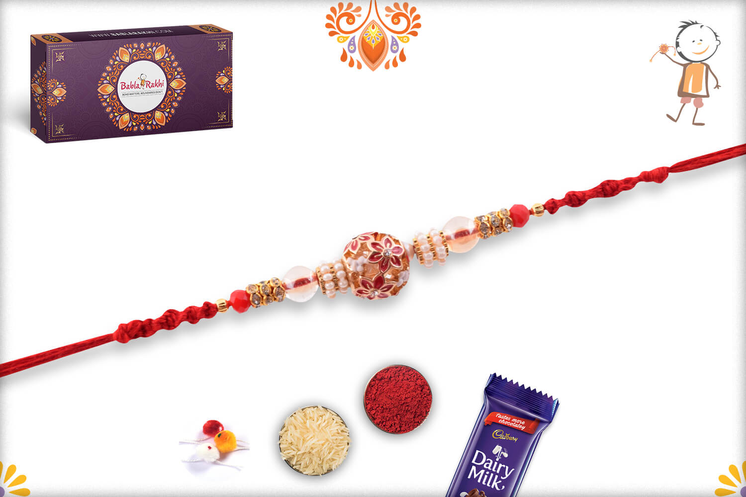 Antique Metalic Design With White Pearl Rakhi And Red Thread 3