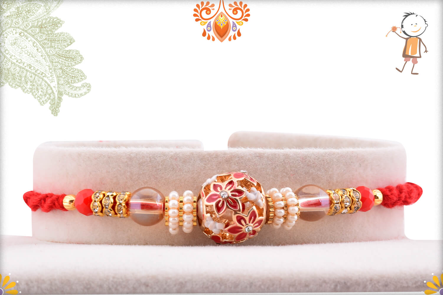 Antique Metalic Design With White Pearl Rakhi And Red Thread 1