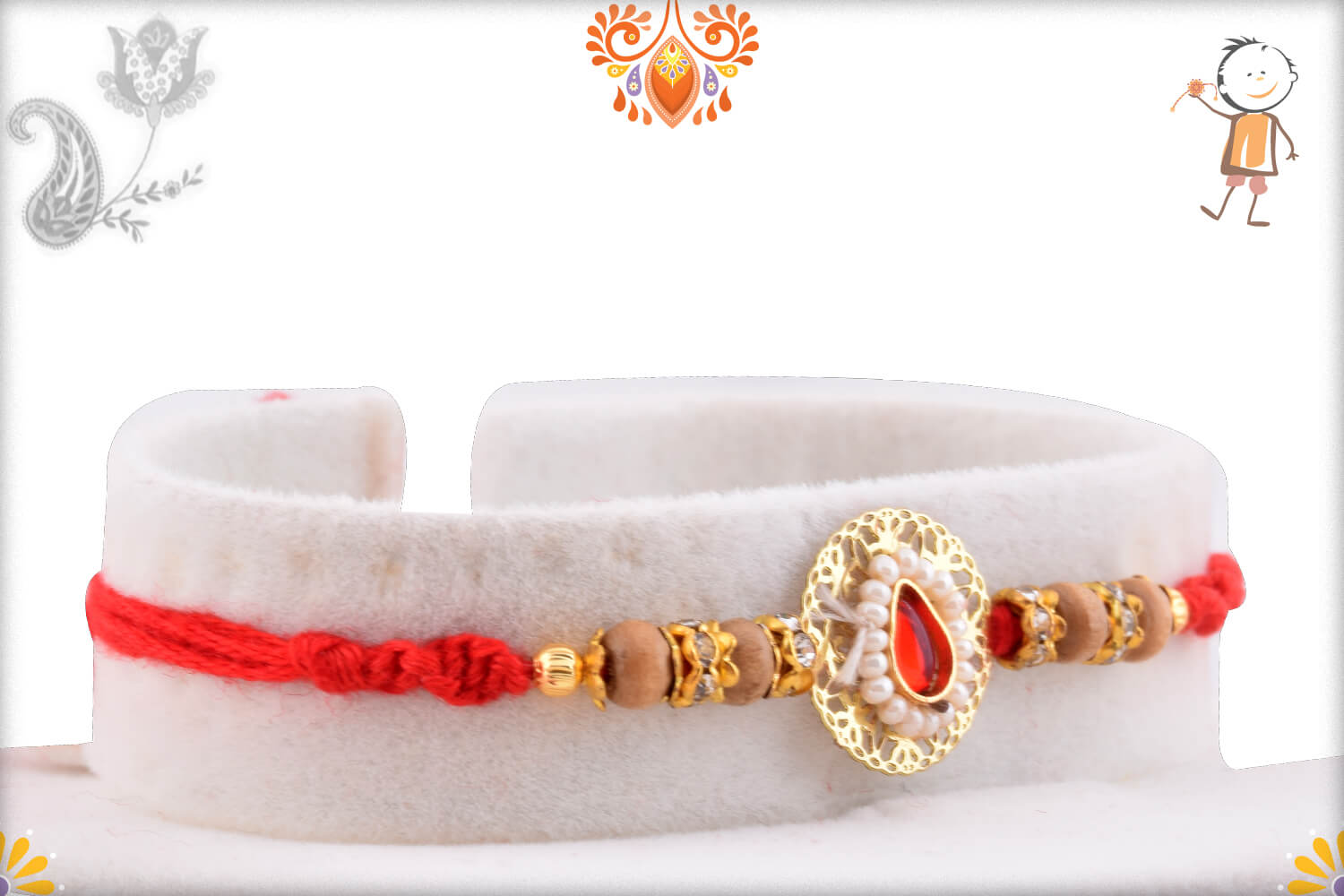 Antique Metalic Design With White Pearl Rakhi And Wooden Beads 1