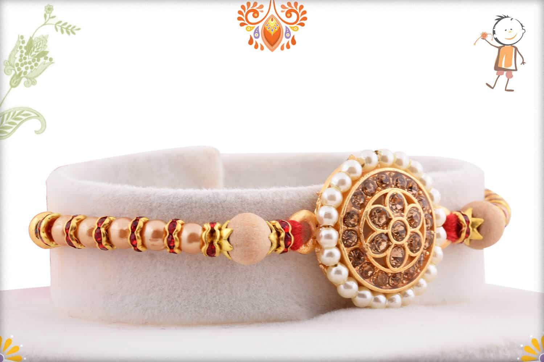 Royal Pearls and Diamond Rakhi   Send Rakhi Gifts Online 1