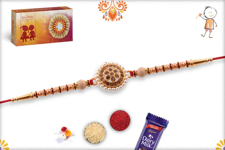 Royal Pearls and Diamond Rakhi   Send Rakhi Gifts Online 3