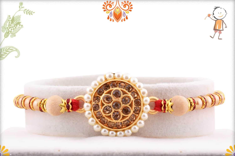 Royal Pearls and Diamond Rakhi   Send Rakhi Gifts Online 2