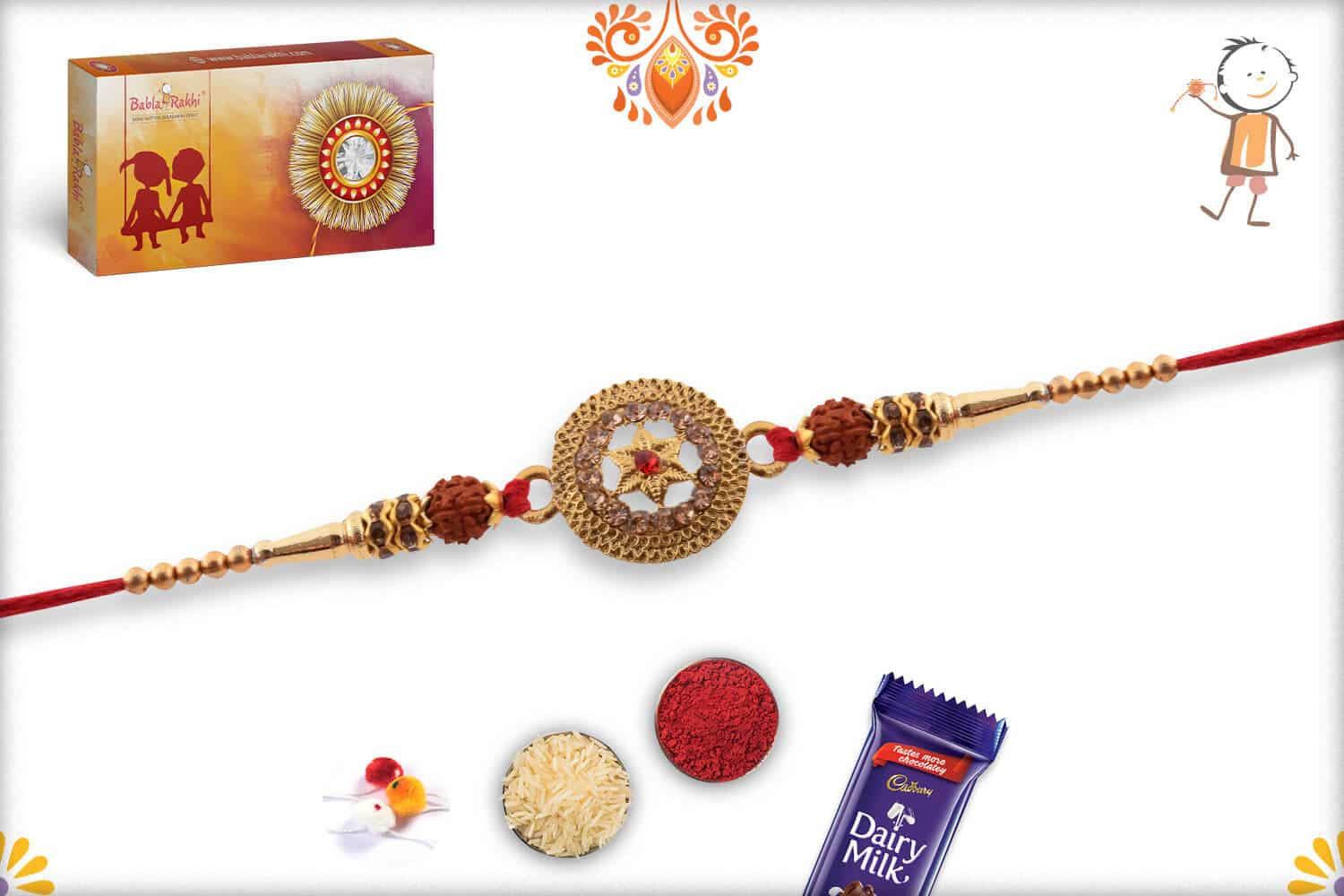 Exclusive Metal Pendant with Rudraksh Rakhi 2