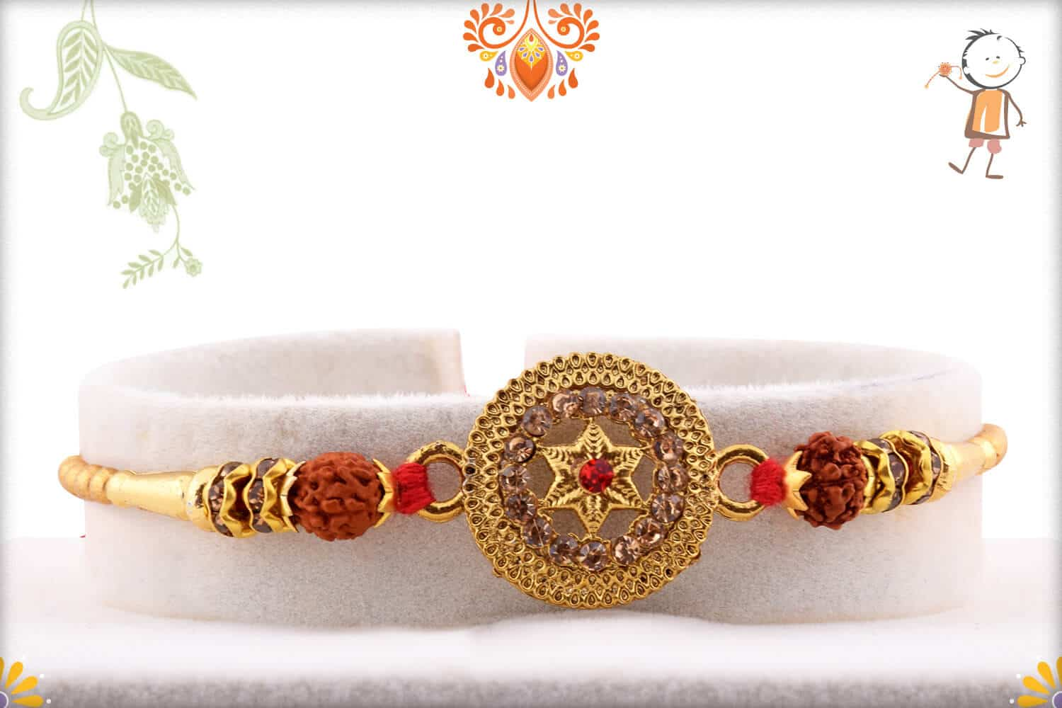 Exclusive Metal Pendant with Rudraksh Rakhi 1