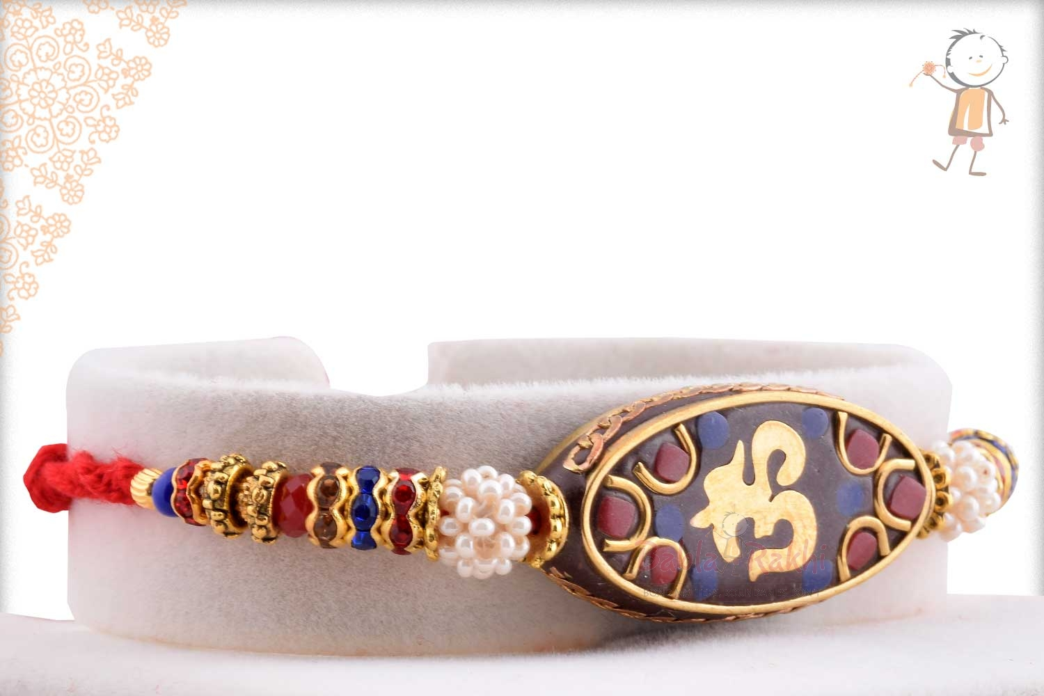 Antique OM Rakhi with Red and Blue Stone 2