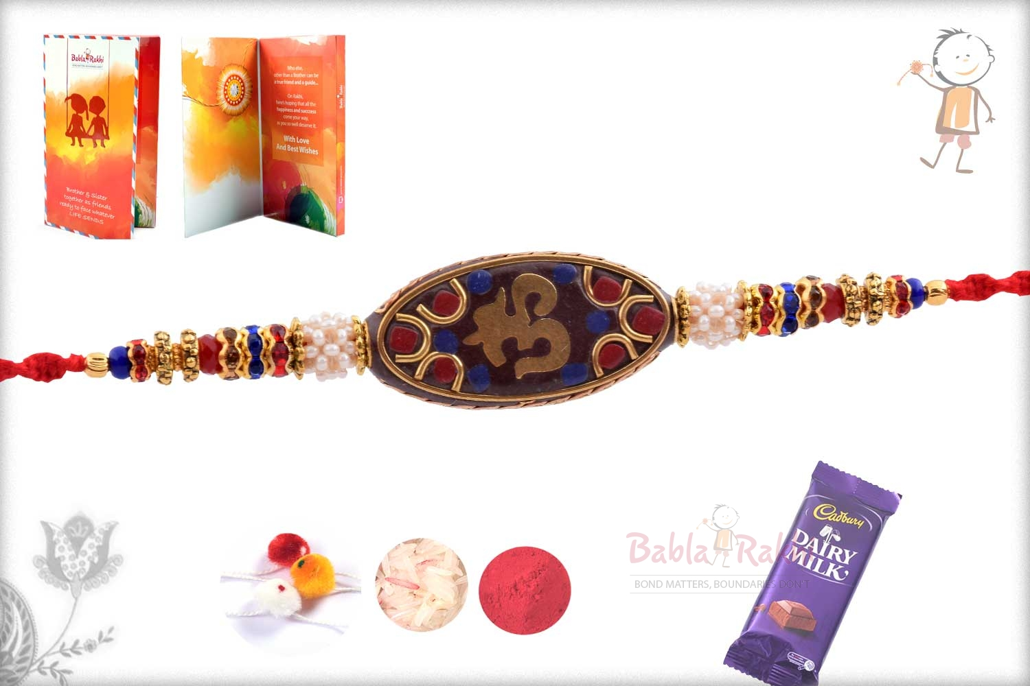 Antique OM Rakhi with Red and Blue Stone 3