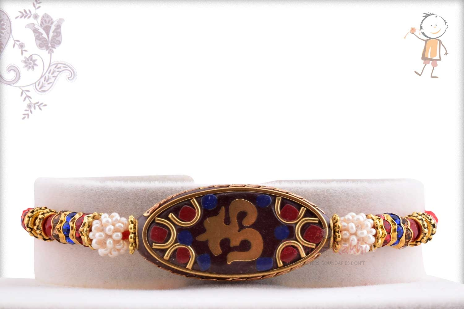 Antique OM Rakhi with Red and Blue Stone 1