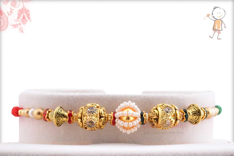 Antique Diamond Bead with Pearl Rakhi 1