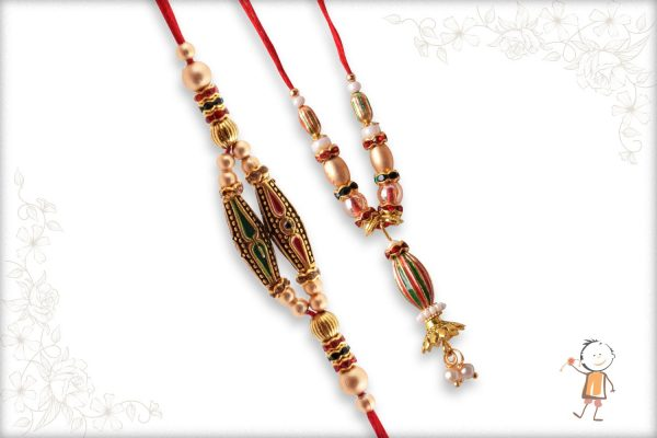 Unique Designer Bhaiya-Bhabhi Rakhi with Golden Beads - Babla Rakhi