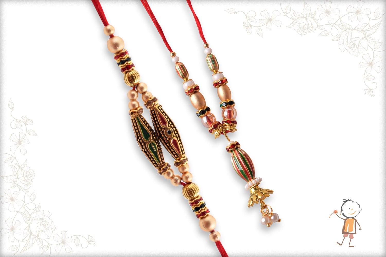 Unique Designer Bhaiya-Bhabhi Rakhi with Golden Beads - Babla Rakhi