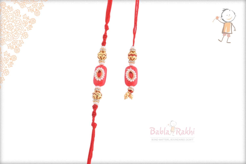 Exclusive Red Bhaiya Bhabhi Rakhi with Kundan and Pearls 1