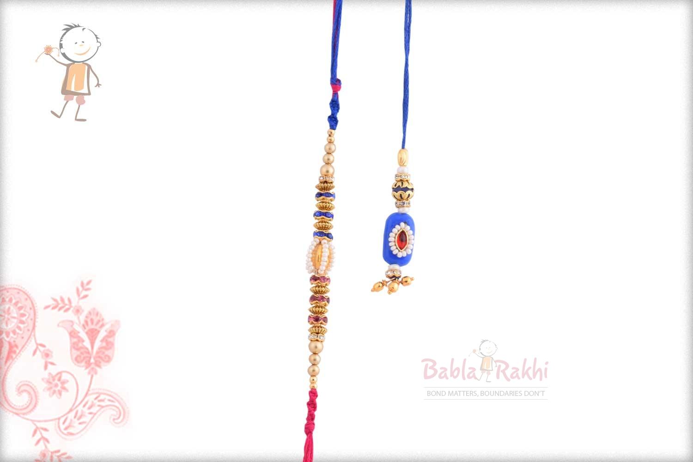 Exclusive Blue Bhaiya Bhabhi Rakhi with Pearls 1