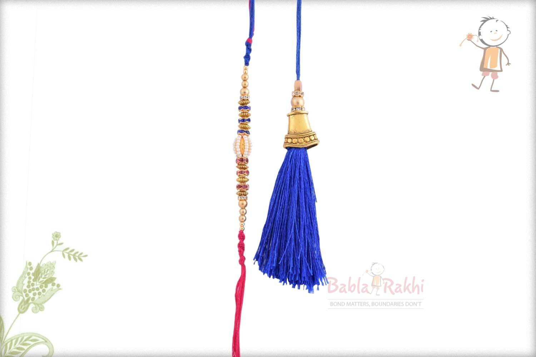 Designer Blue Bhaiya Bhabhi Rakhi with Pearls and Diamonds 1