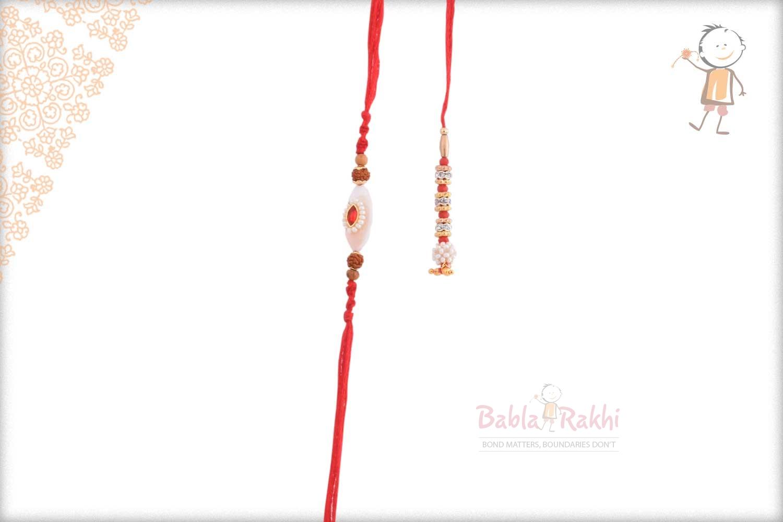 Designer Red-White Bhaiya Bhabhi Rakhi with Pearls 1