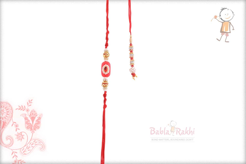 Delicate Red Bhaiya Bhabhi Rakhi with Pearls 1