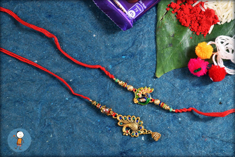 Antique Colorful Peacock Bhaiya Bhabhi Rakhi 1