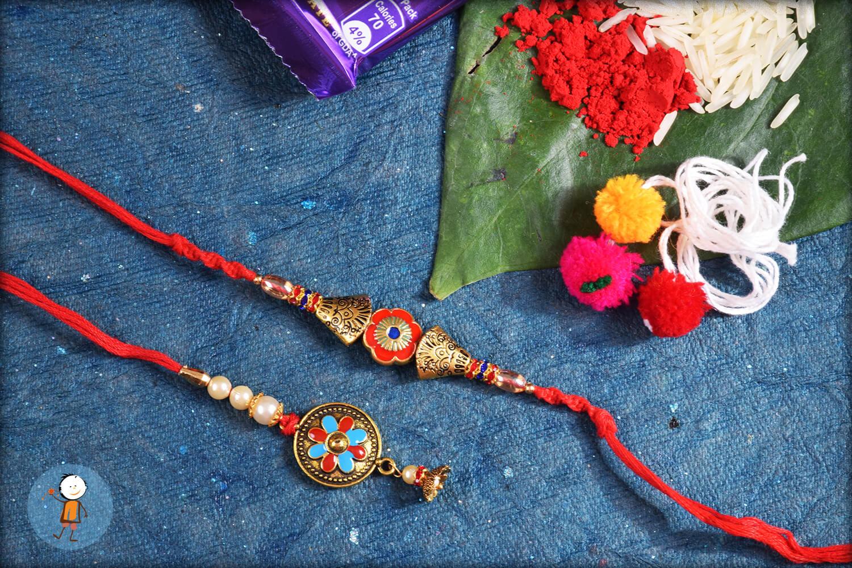 Fabulous Golden Designer Bhaiya Bhabhi Rakhi 1
