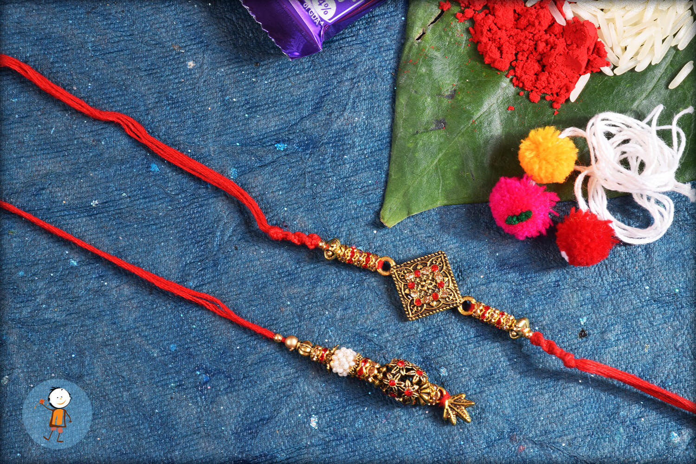 Fabulous Combination of Copper and Red Bhaiya Bhabhi Rakhi 1