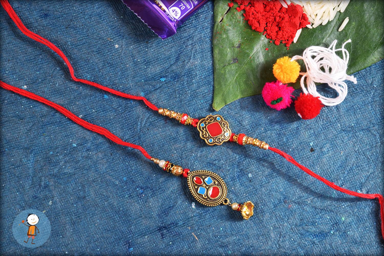 Eye-catching Red Designer Bhaiya Bhabhi Rakhi 1