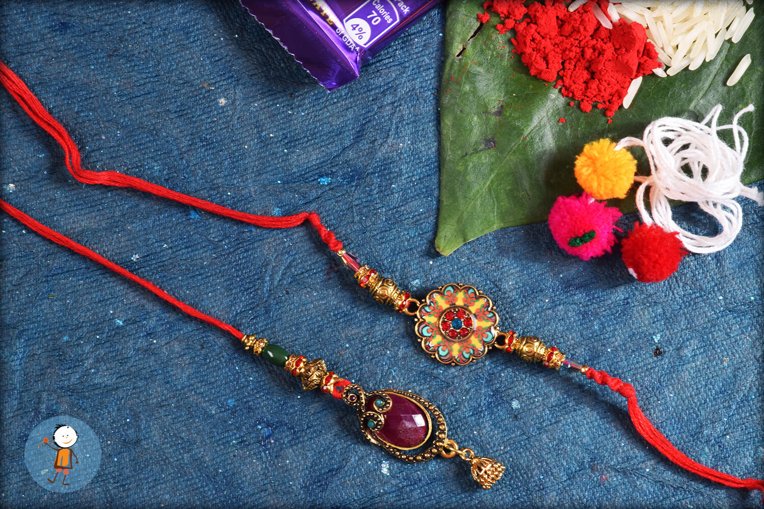 Iconic Colorful Stone With Golden Design and Red Thread Rakhi 1