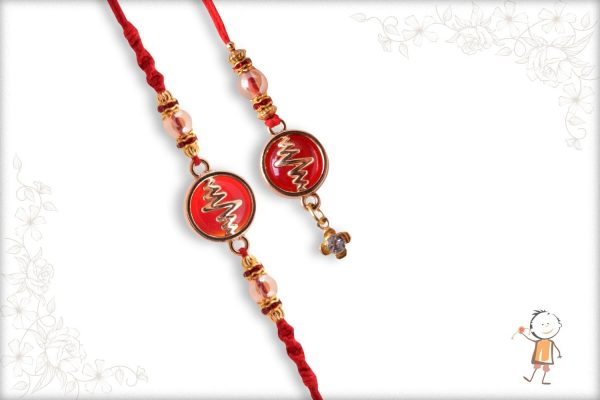 Heart Beat Bhaiya-Bhabhi Rakhi with Red Stone - Babla Rakhi
