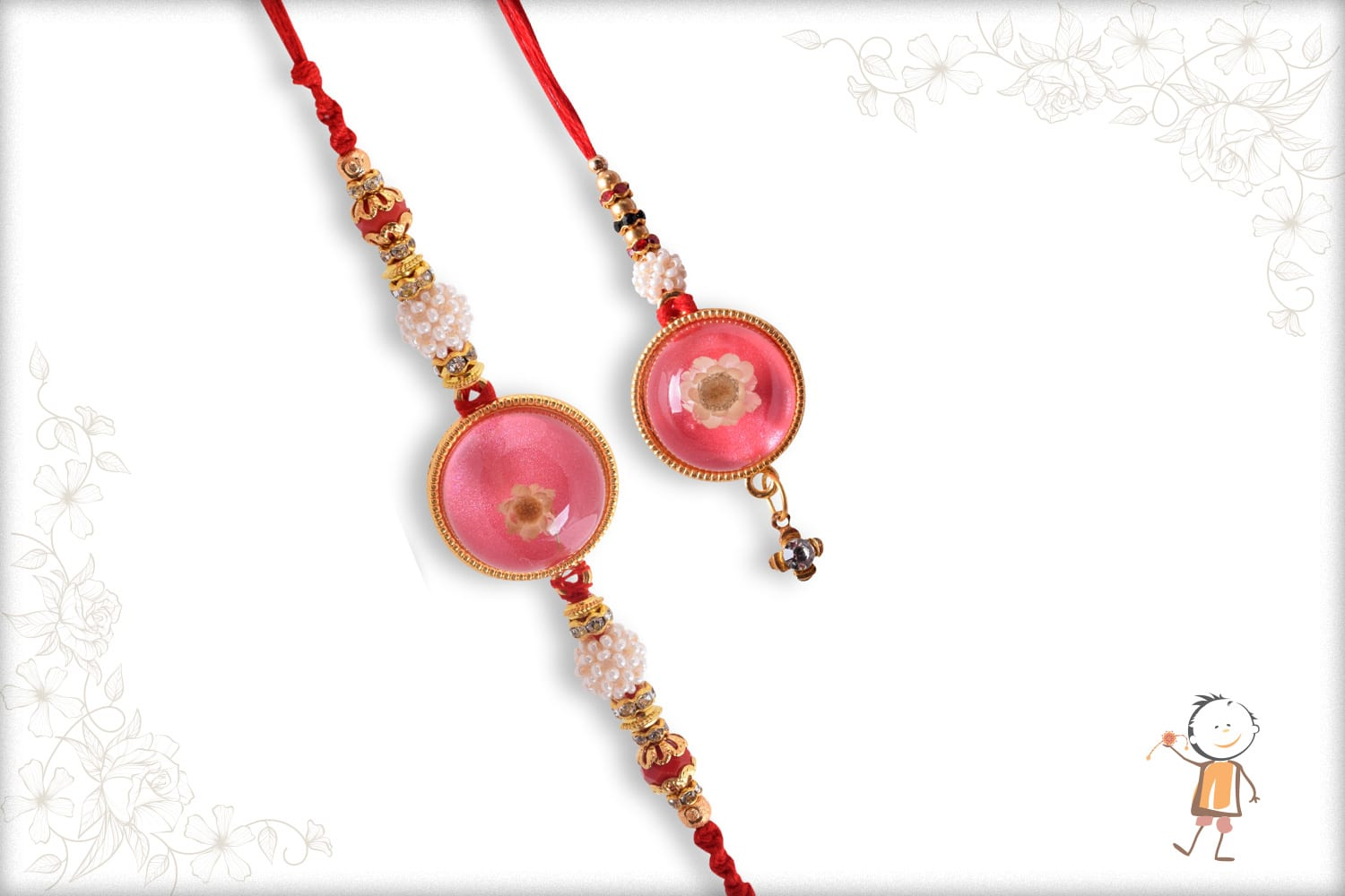 Beautiful Resin Flower Bhaiya-Bhabhi Rakhi - Babla Rakhi