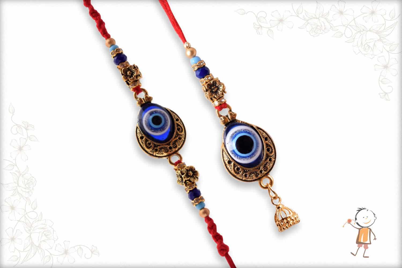 Evil Eye Rakhi Bhaiya-Bhabhi Rakhi with Flower Beads - Babla Rakhi