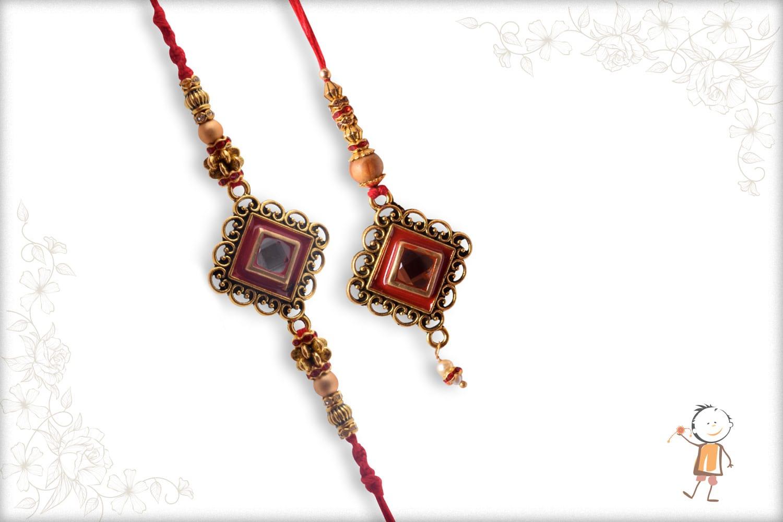 Designer Diamond Shape Kundan Bhaiya-Bhabhi Rakhi - Bab;la Rakhi
