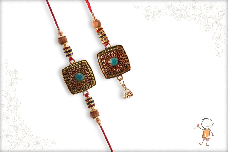 Exclusive Square Bhaiya-Bhabhi Rakhi with Turquoise Bead - Babla Rakhi