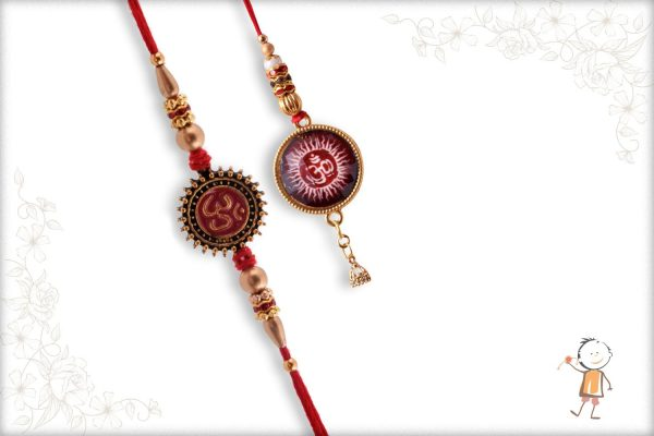 Handcrafted Spiritual OM Bhaiya-Bhabhi Rakhi with Golden Beads + Babla Rakhi