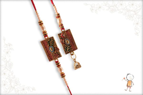 Premium Pearl Bhaiya-Bhabhi Rakhi with Diamonds - Babla Rakhi