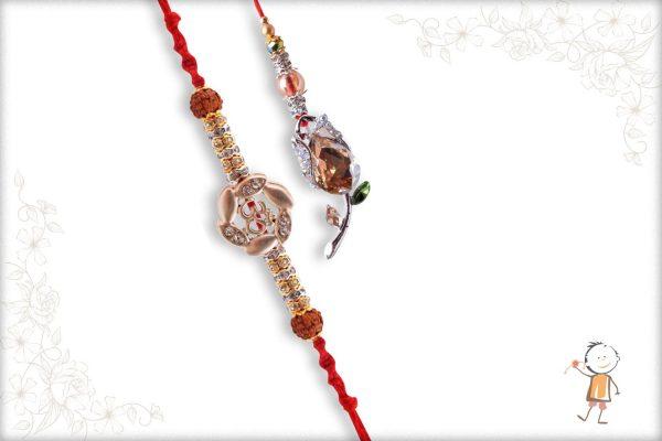Premium Silver OM Bhaiya Rakhi and Diamond Flower Bhabhi Rakhi - Babla Rakhi