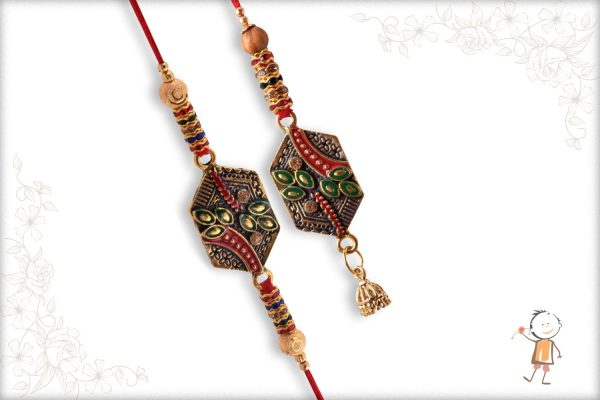 Exclusive Bhaiya-Bhabhi Rakhi with Desinger Beads and Diamonds - Babla Rakhi