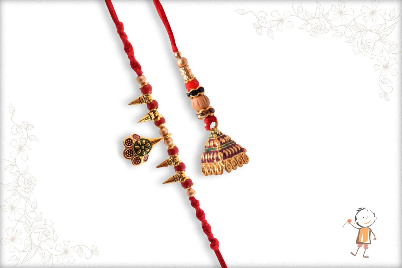 Unique Hanging Bhaiya-Bhabhi Rakhi with Red Beads - Babla Rakhi