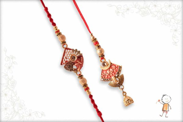 Premium Designer Bhaiya-Bhabhi Rakhi with Beads - Babla Rakhi