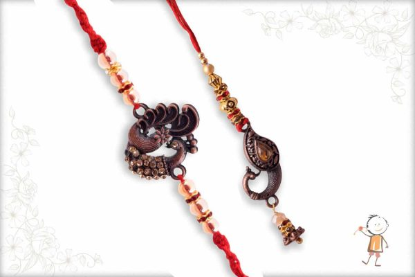 Antique Metalique Finish Peacock Bhaiya-Bhabhi Rakhi - Babla Rakhi