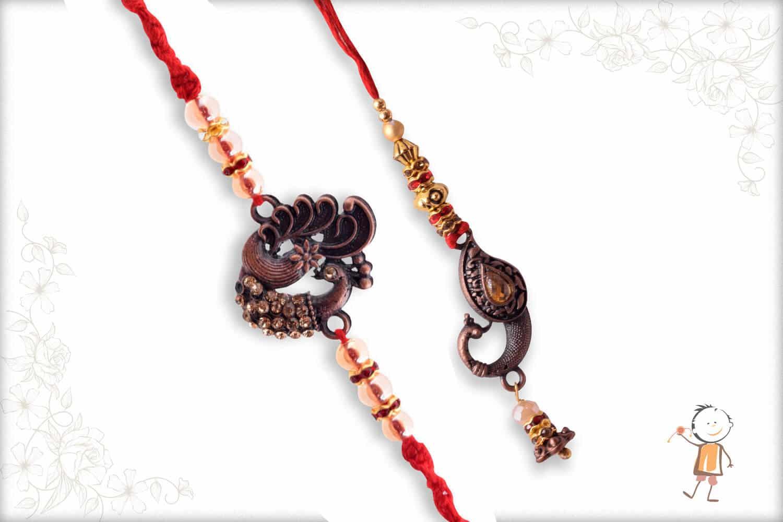 Antique Metalique Finish Peacock Bhaiya-Bhabhi Rakhi - Babla Rakhi