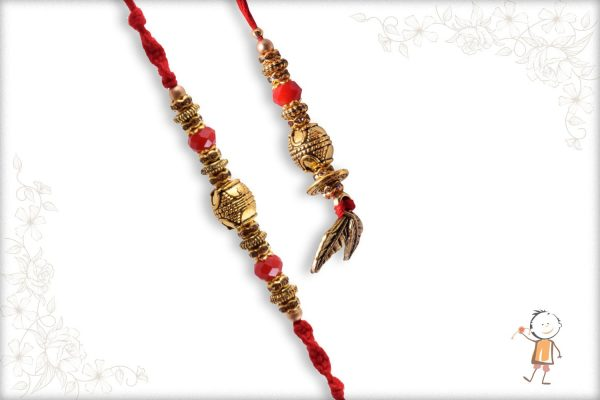 Traditional Golden Bhaiya-Bhabhi Rakhi with Red Beads - Babla Rakhi
