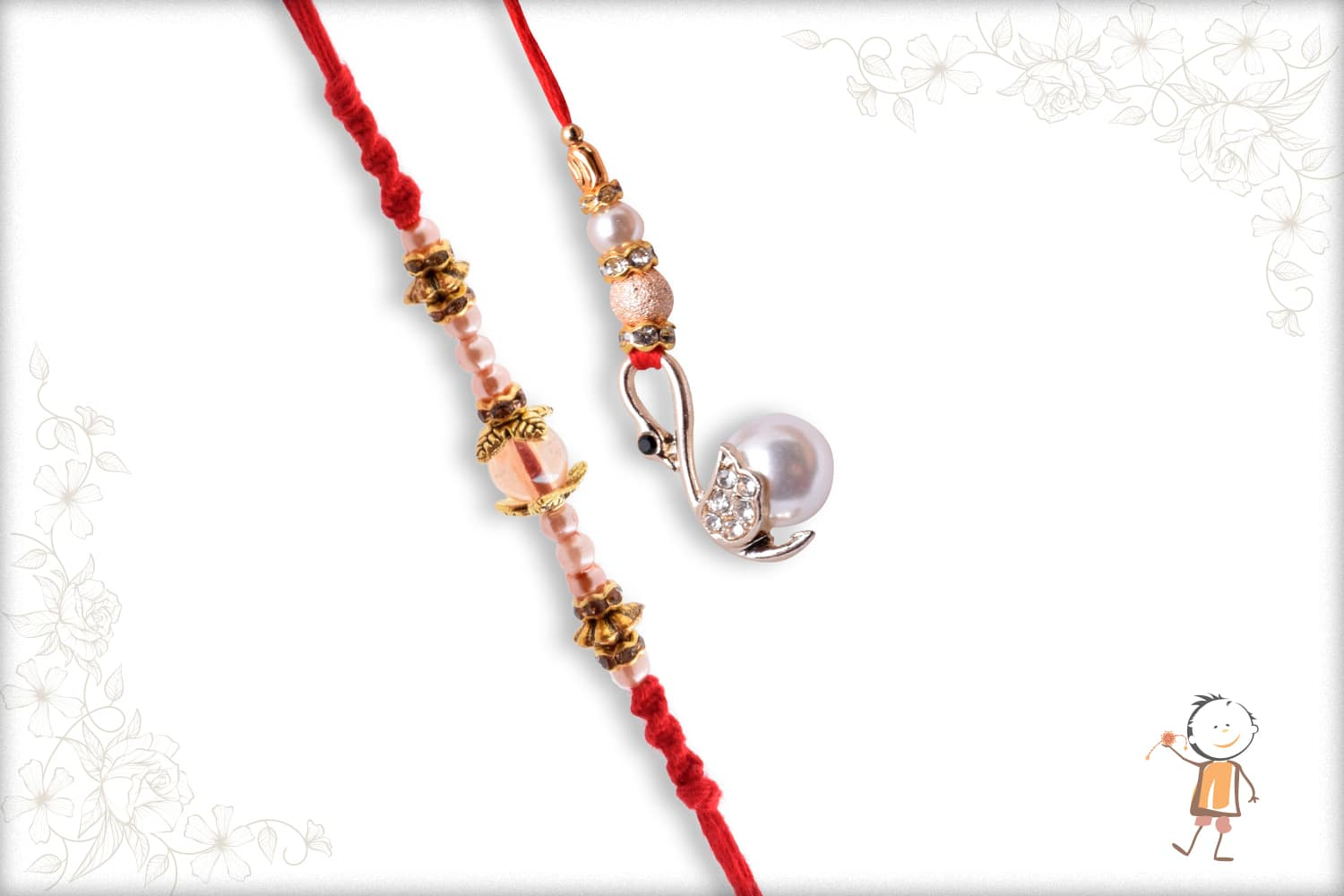 Exclusive Pearl Bhaiya-Bhabhi Rakhi with Diamonds - Babla Rakhi