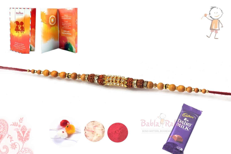 Unique Bracelet Rakhi with Rudraksh Diamond Sandalwood Beads 1
