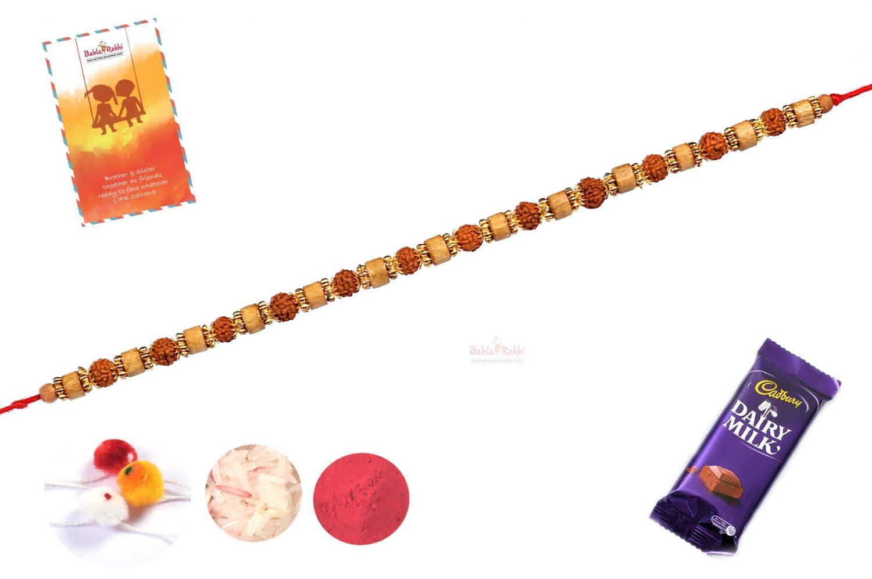 Rudraksh with Sandwood Bracelet-Style Rakhi 1