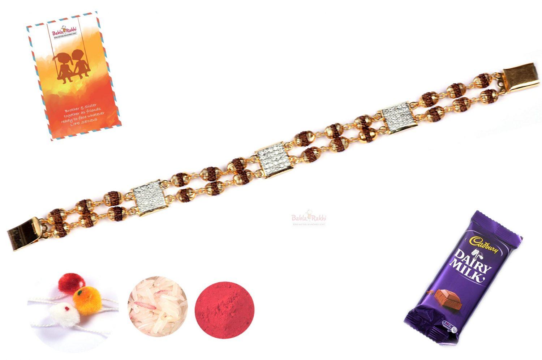 Exclusive Rudraksh with American Diamonds Bracelet Rakhi 1