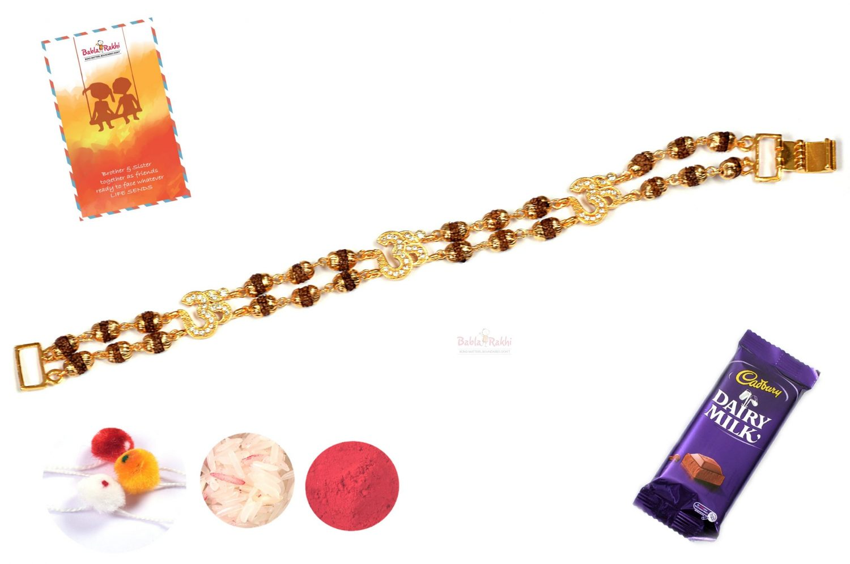 Traditional OM with Rudraksh Bracelet Rakhi 1